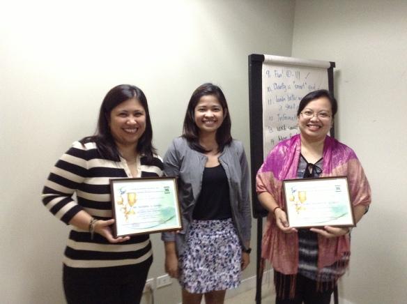 (L-R) Ms. Katrina Llona (TGBLS Consultant), Ms. Katrina Paradina (EPHI Training Head) and Ms. Toni Cielo (TGBLS Consultant)