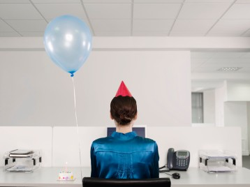Woman Having Birthday at Work